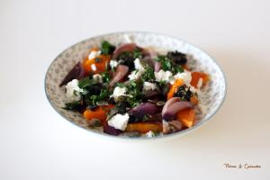 Salade tiède de courge butternut au fromage de chèvre frais