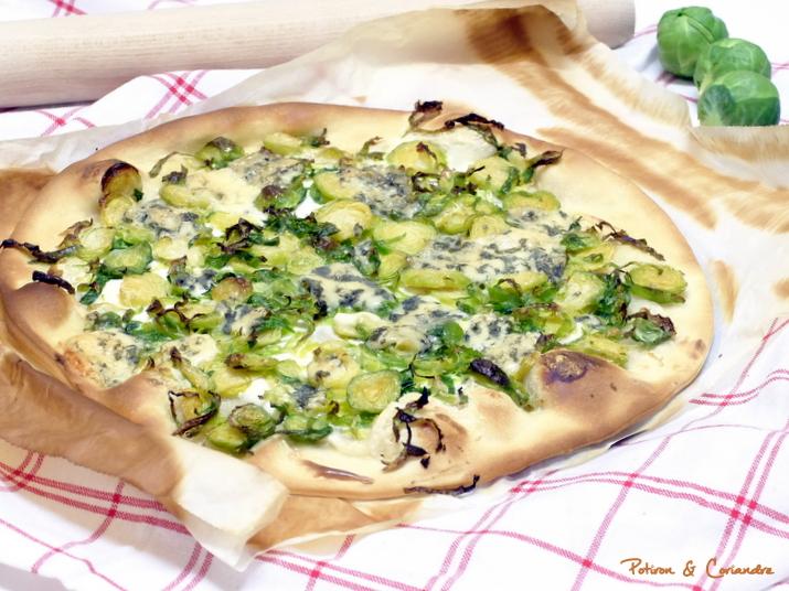 pizza aux choux de bruxelles et stilton