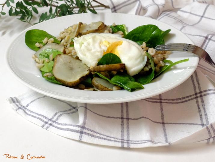 Salade tiède aux topinambours et épeautre