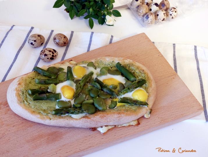 Pain plat aux légumes de printemps et œufs de caille
