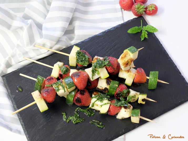 Brochettes fraises-courgettes-halloumi