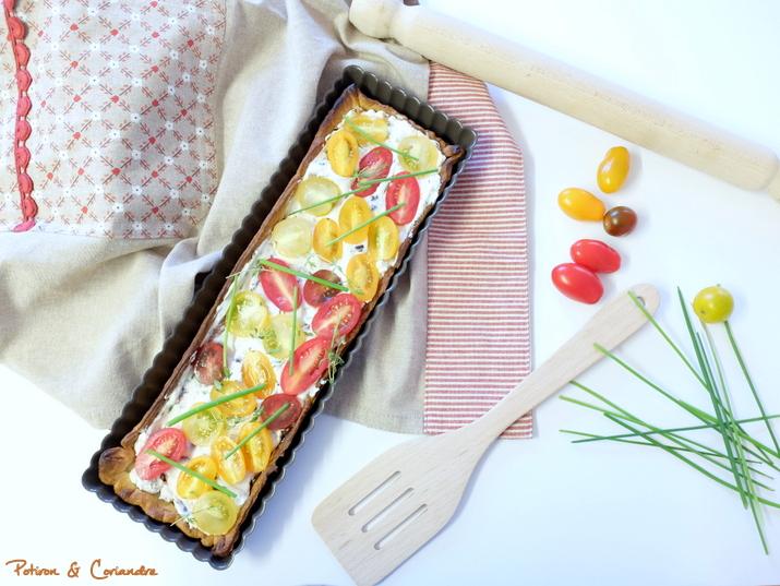 Tarte aux tomates cerises, olives kalamata et crème de balsamique