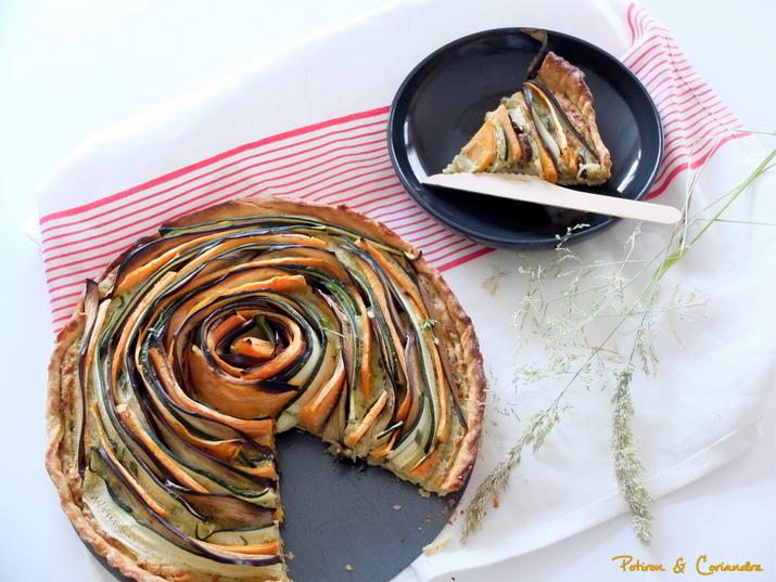 Tarte spirale aux légumes d'été et pesto