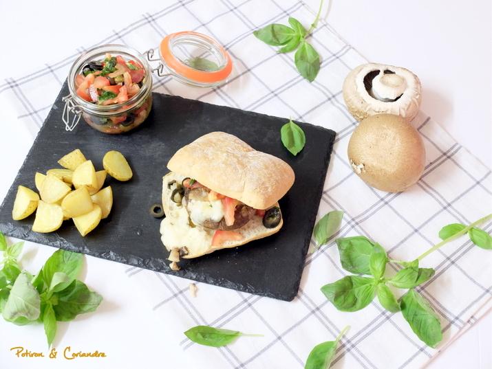 Burger au champignon portobello et mozza