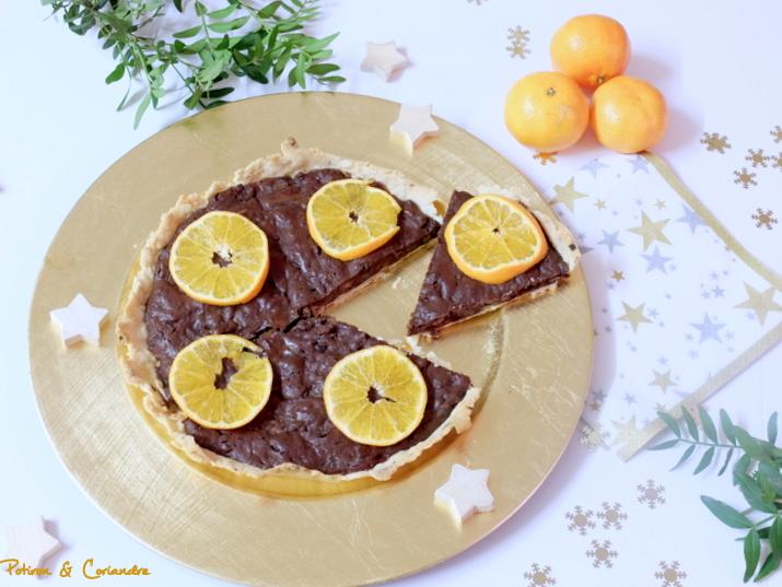 Tarte chocolat, marron et clémentine