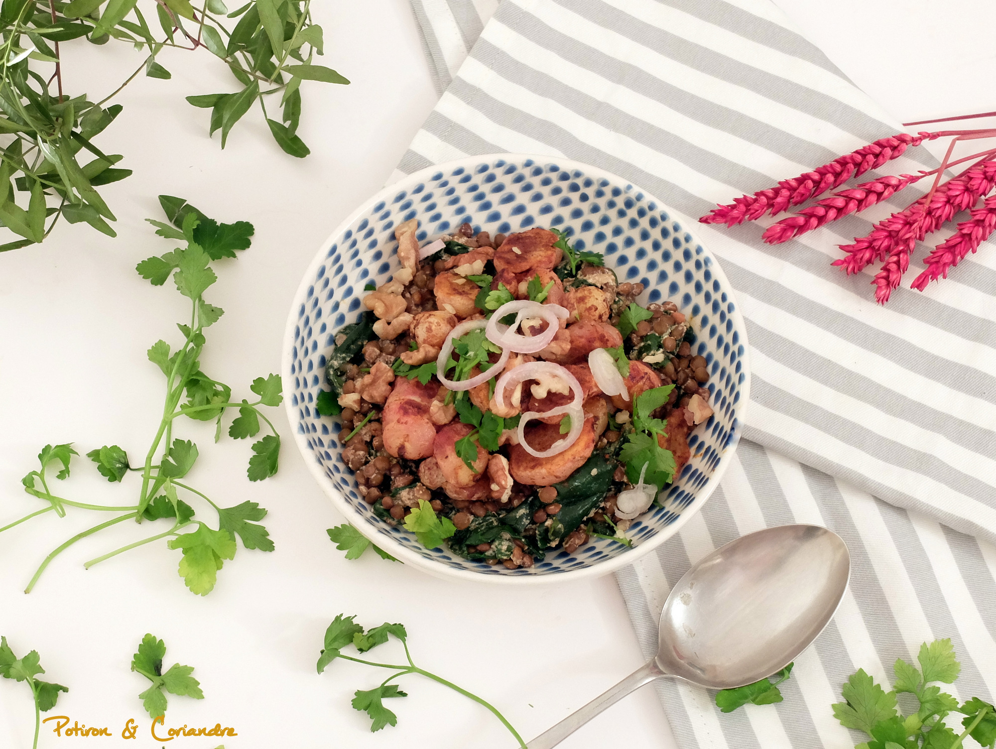 Salade d'Oca rôtis aux épices et lentilles