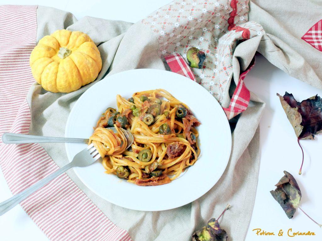 One pot linguine aux tomates séchées, olives et câpres