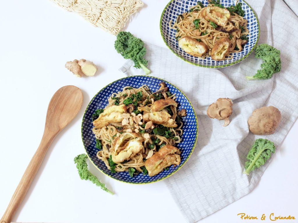 Nouilles au kale, shiitakés et cinq épices