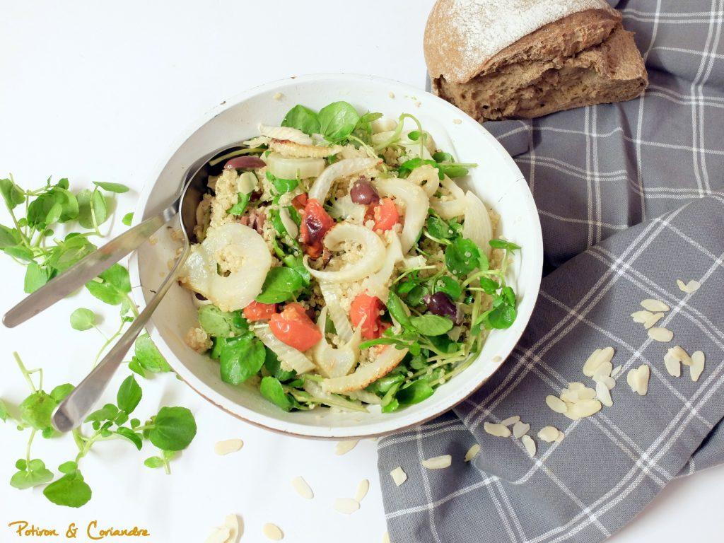 Salade de quinoa au fenouil rôti et cresson