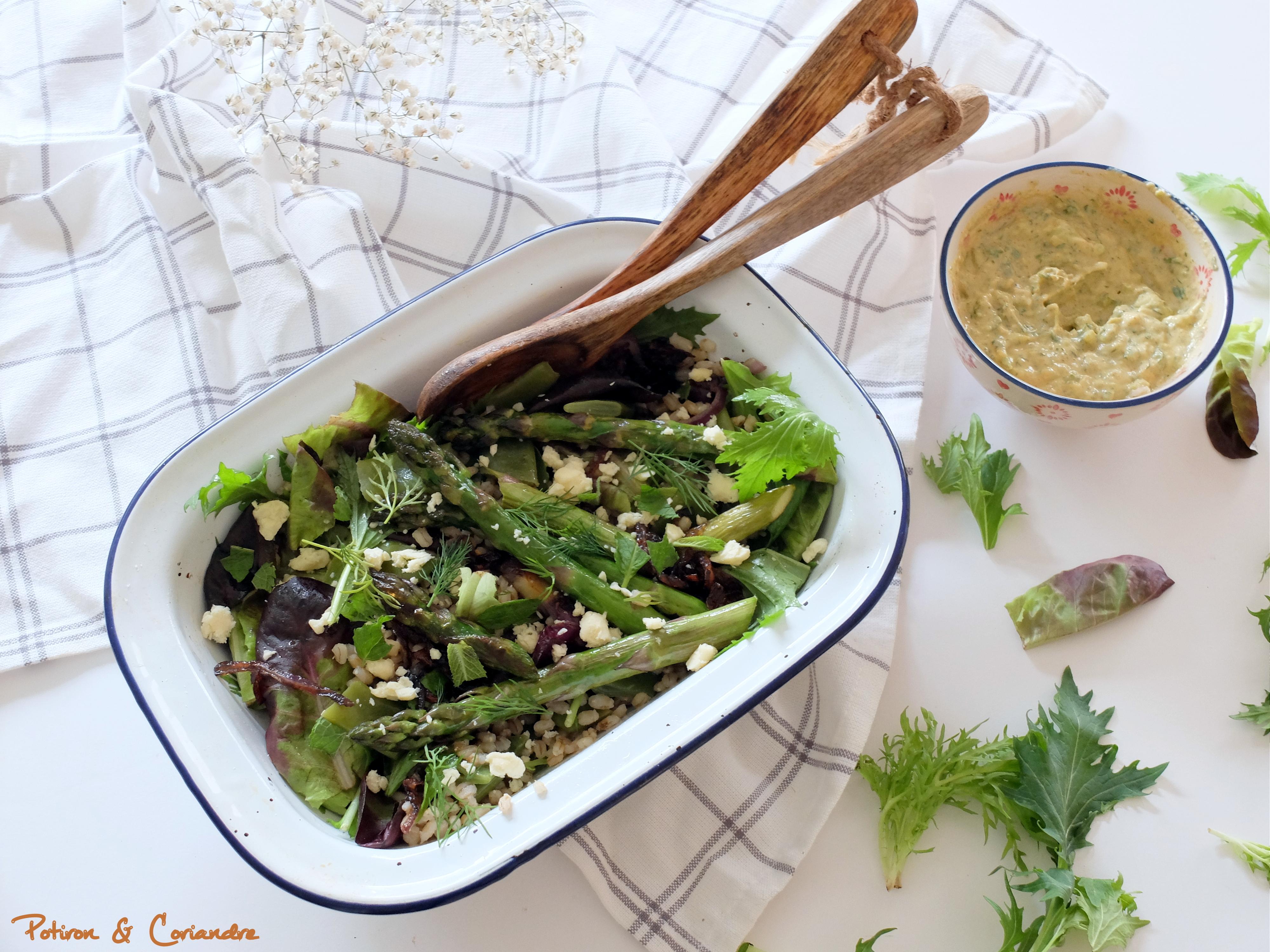 Orge perlé, asperges et fromage de brebis en salade