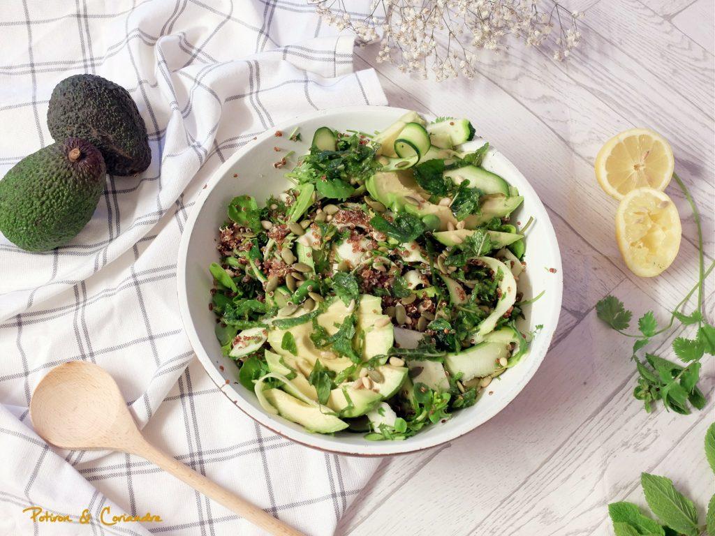 Salade de quinoa aux fèves, courgette et avocat
