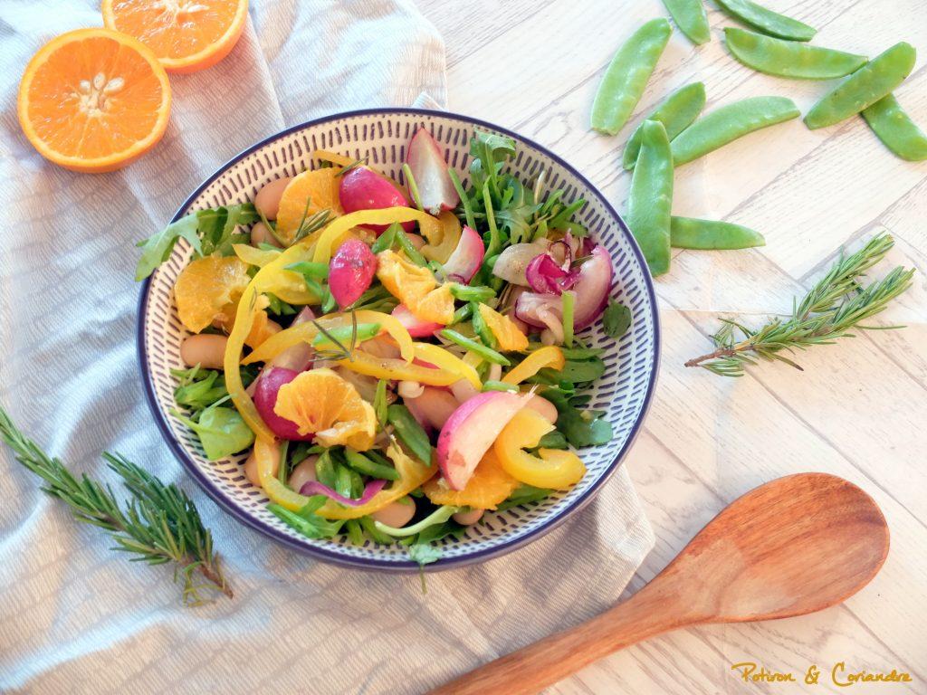 Salade de radis rôtis, poivrons et quartiers d'orange
