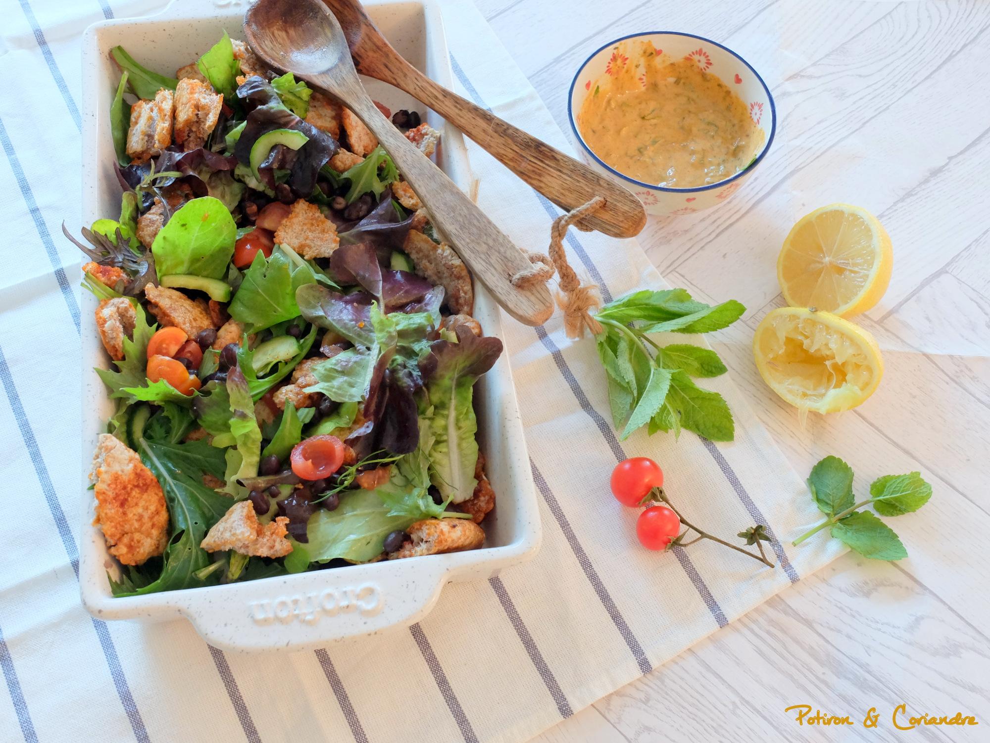 Fattouche ou salade Libanaise aux haricots noirs