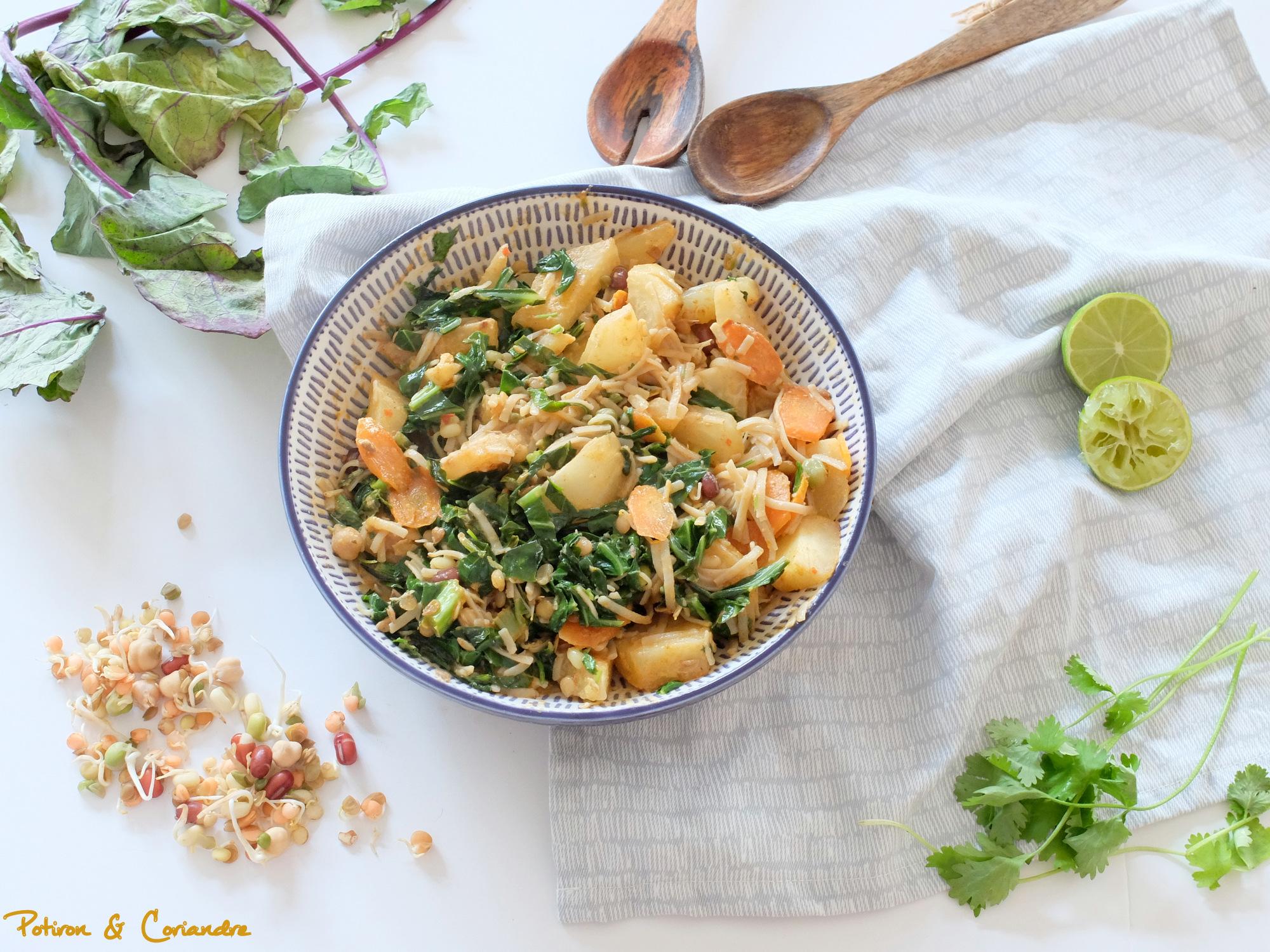 Chou rave et nouilles de riz brun à la Thaï