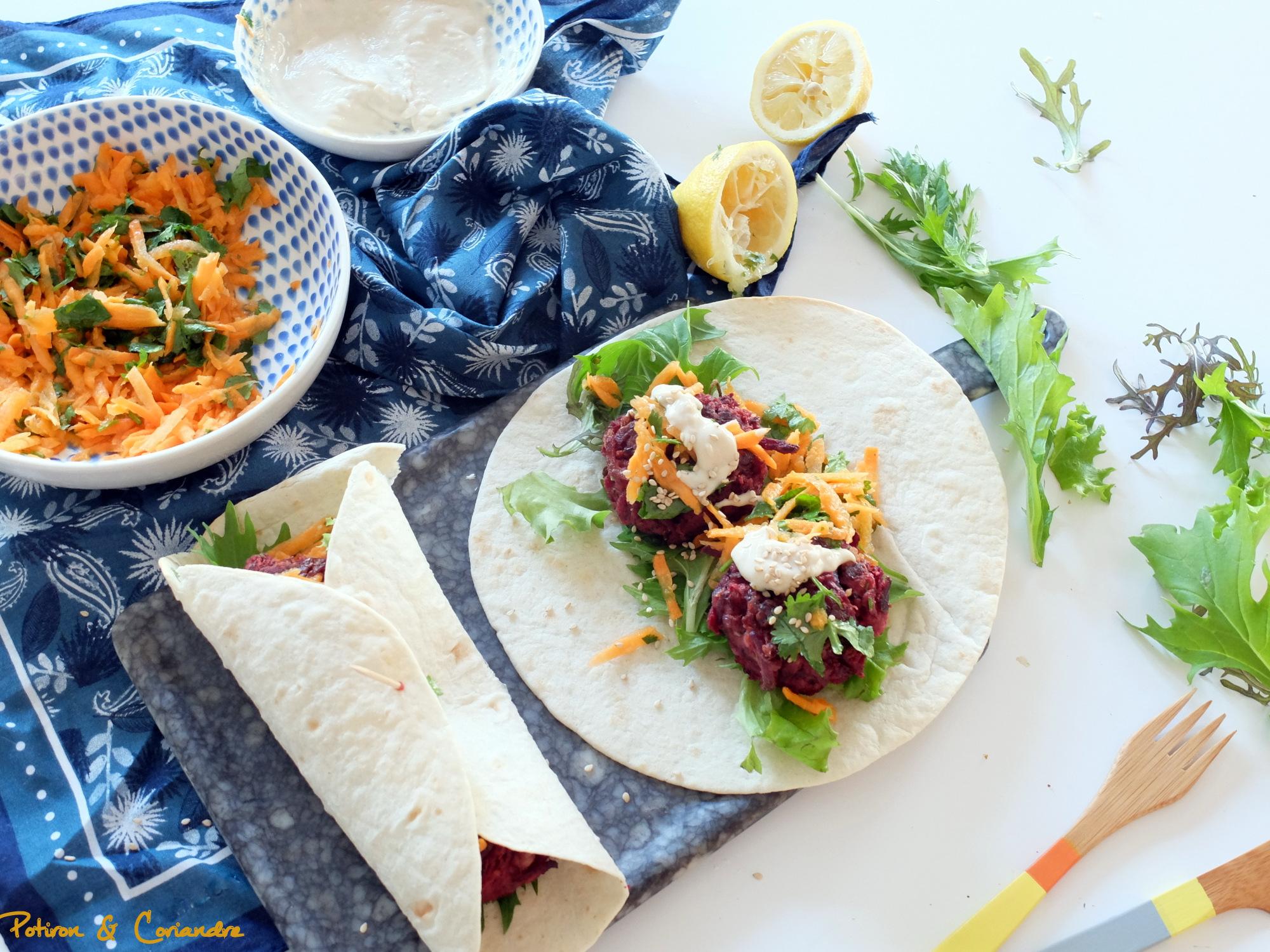 Wraps aux falafels a la betterave et aux haricots rouges