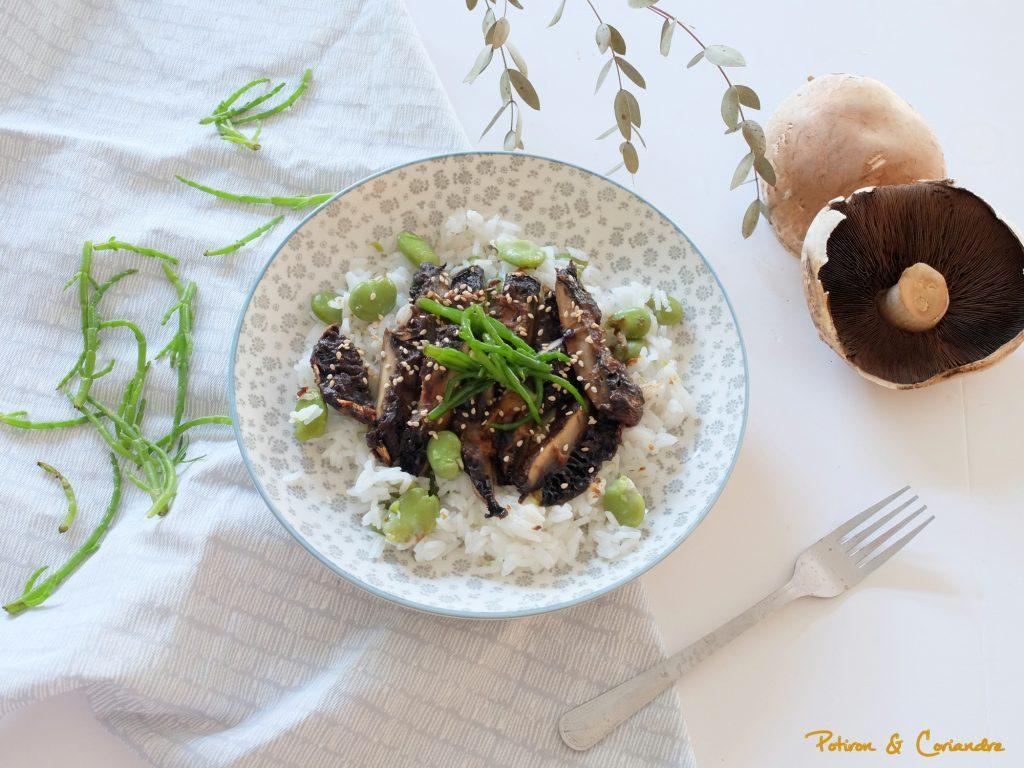 Champignons Portobello rôtis au miso et riz gluant