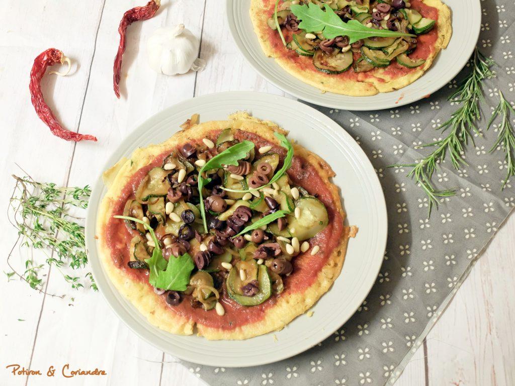 Pizza socca aux courgettes