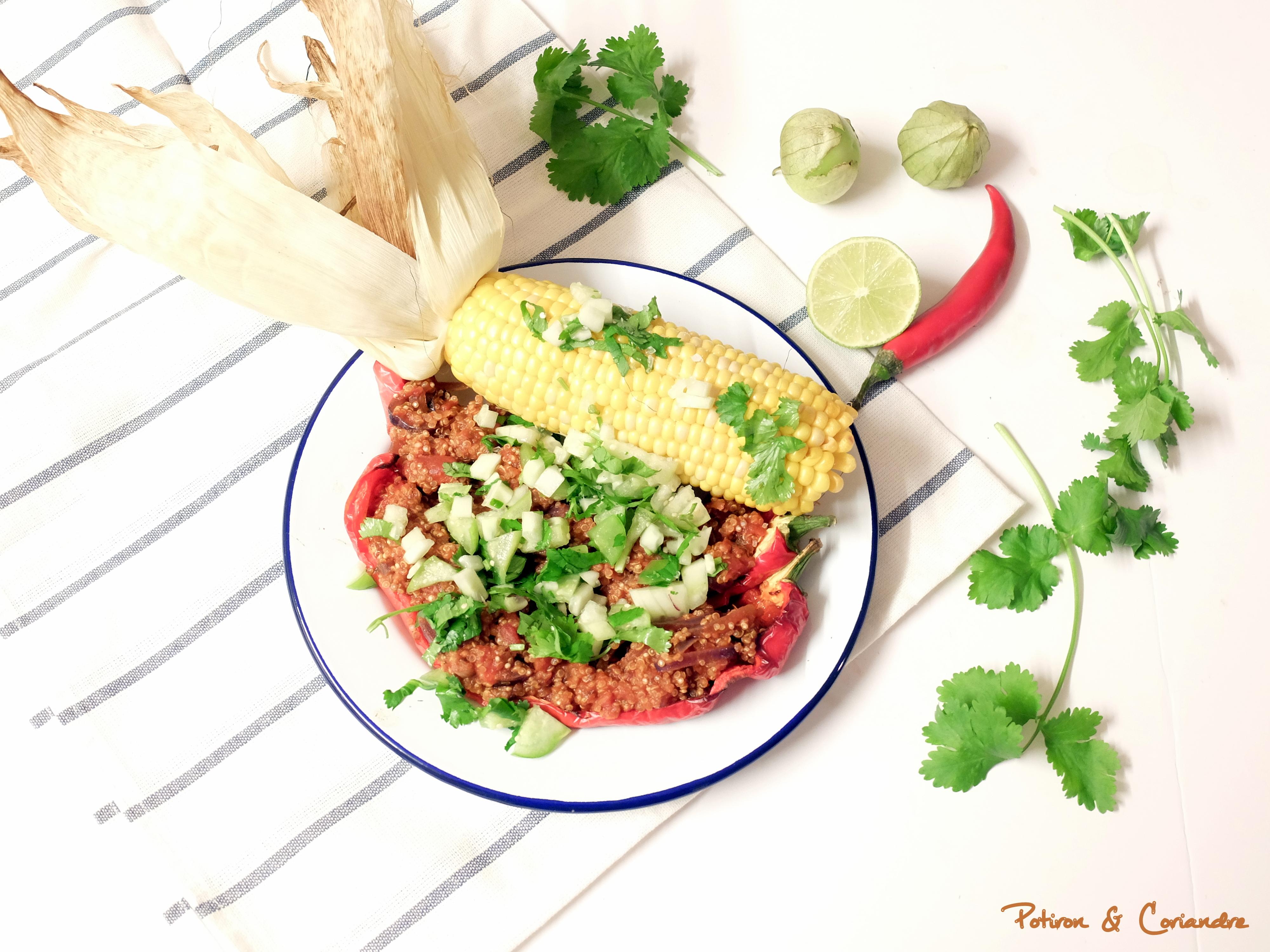 Poivrons farcis au quinoa et salsa aux tomatillos