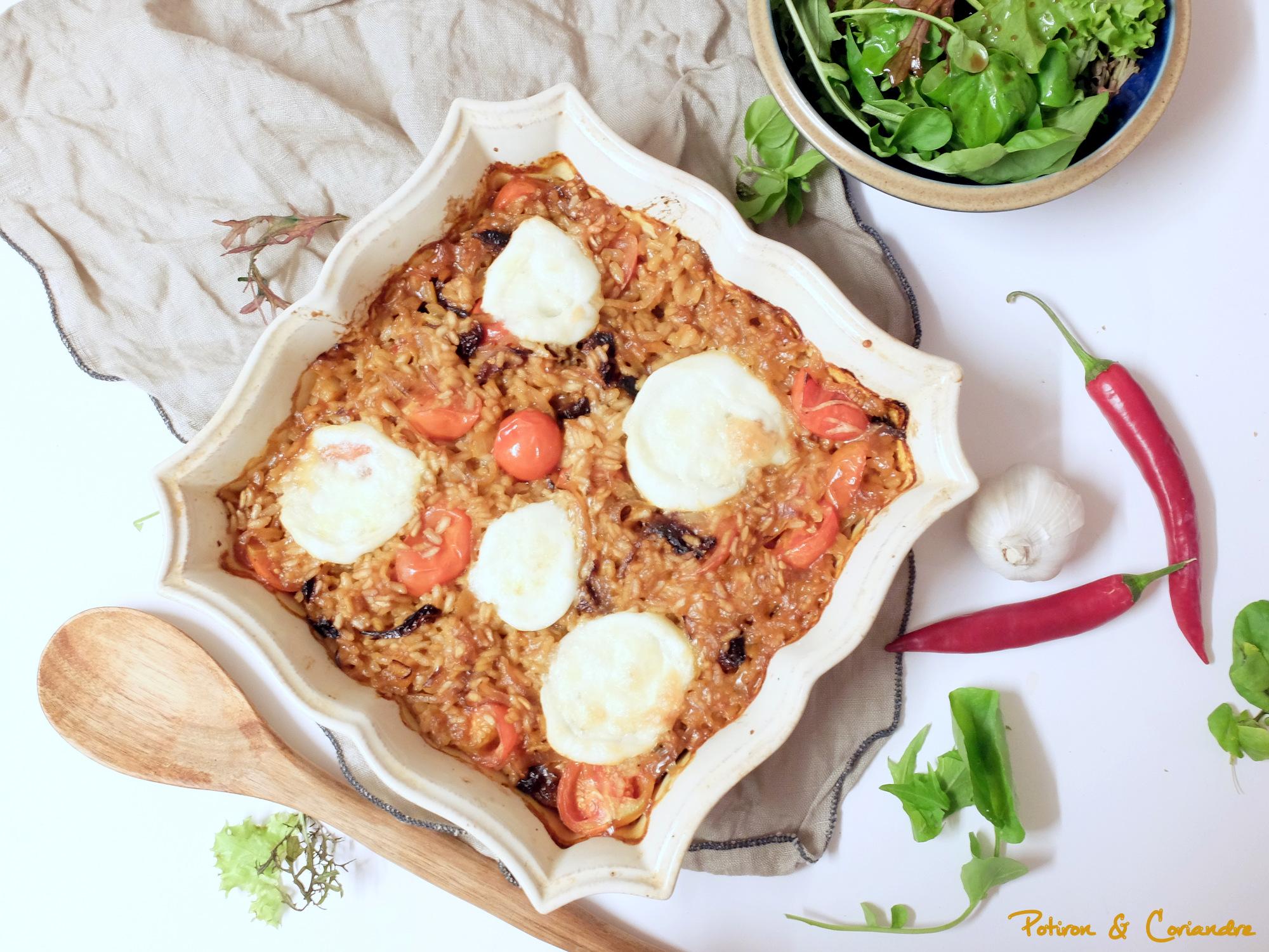 Risotto à la tomate gratiné à la mozzarella