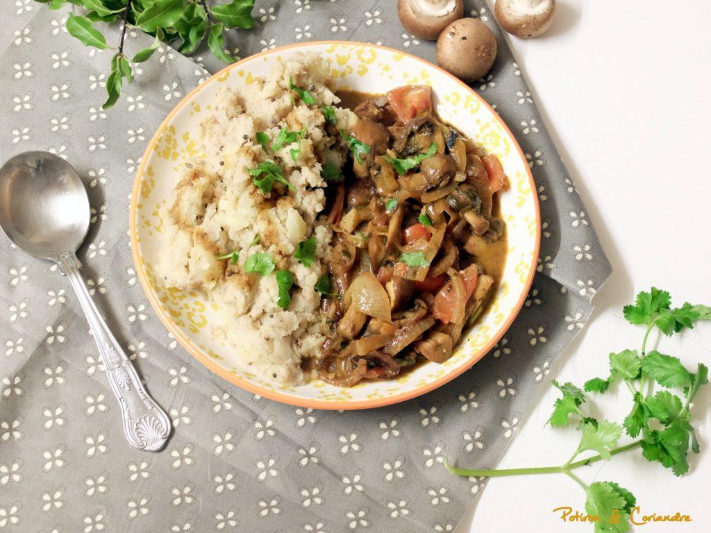 Korma aux champignons et écrasé de pommes de terre aux épices
