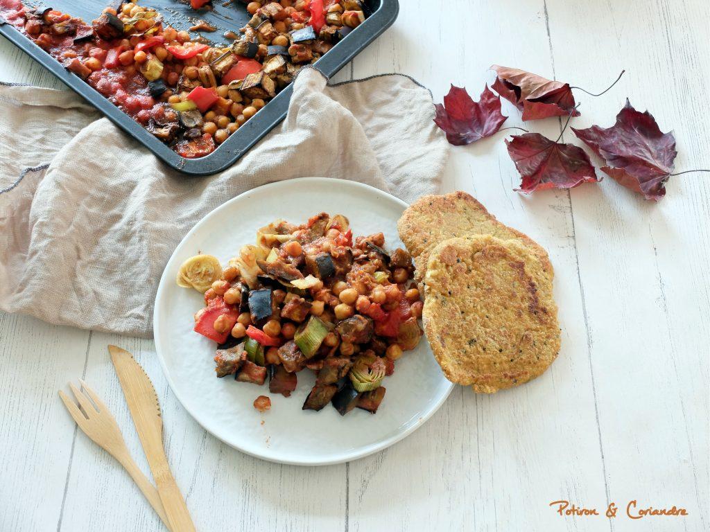 Légumes rôtis aux épices et petits pains au tofu
