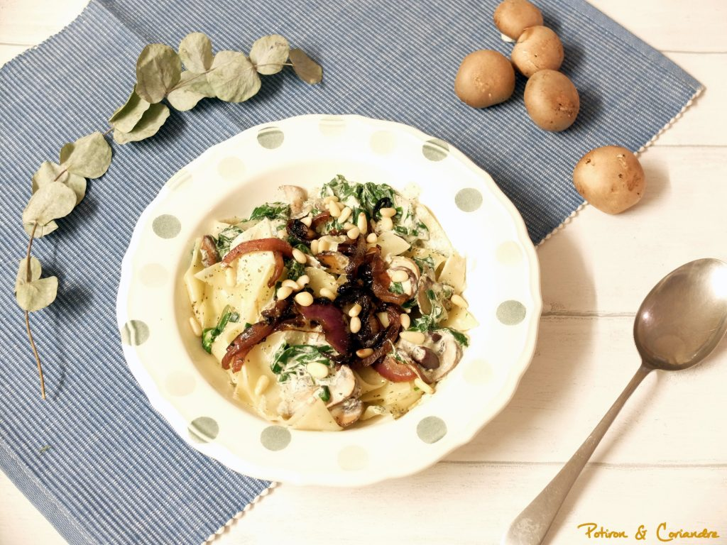 Lasagnes et champignons au pesto