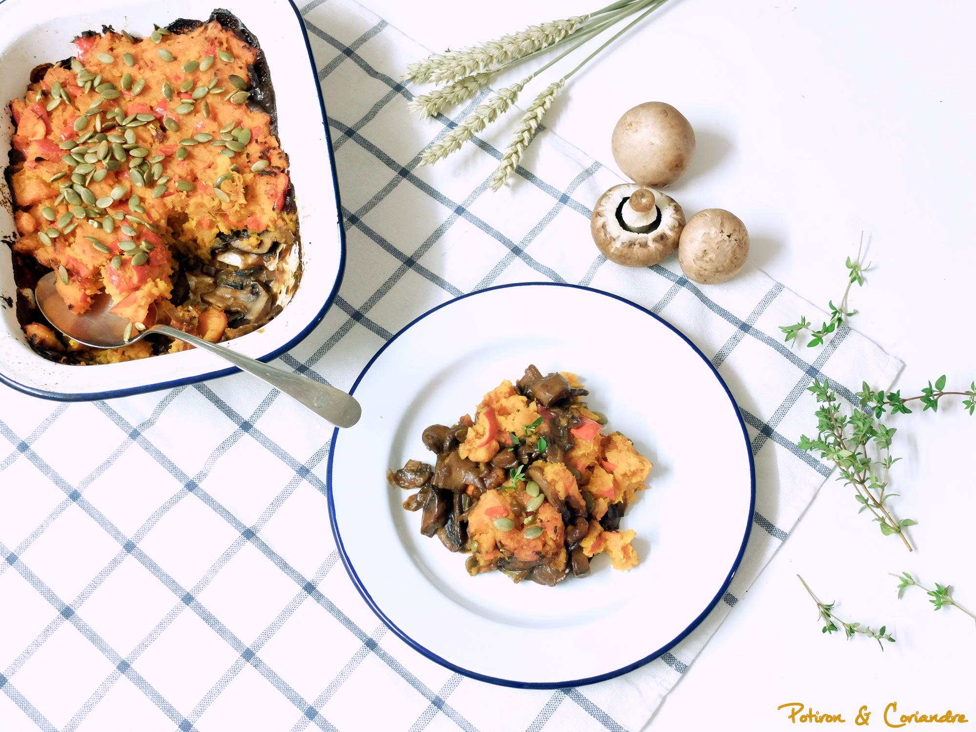 Cottage pie au potimarron et champignons