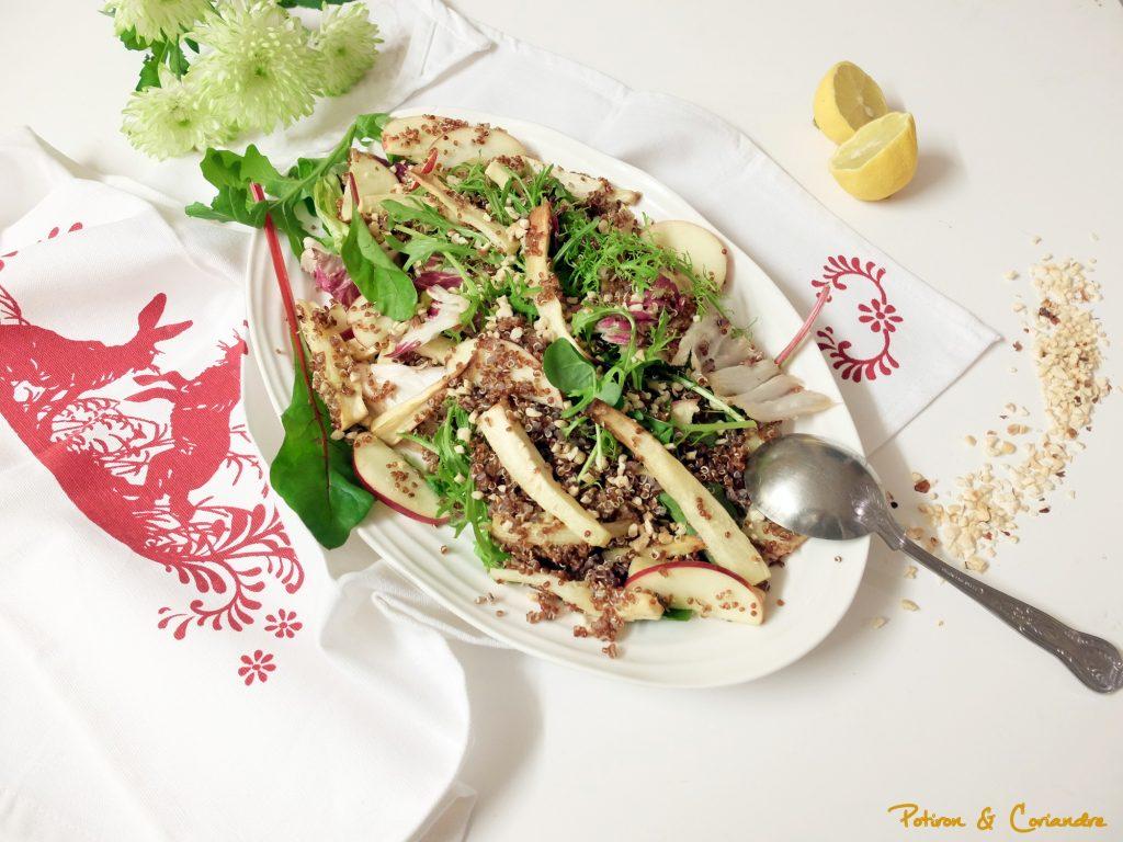 Salade au panais, quinoa et noisettes
