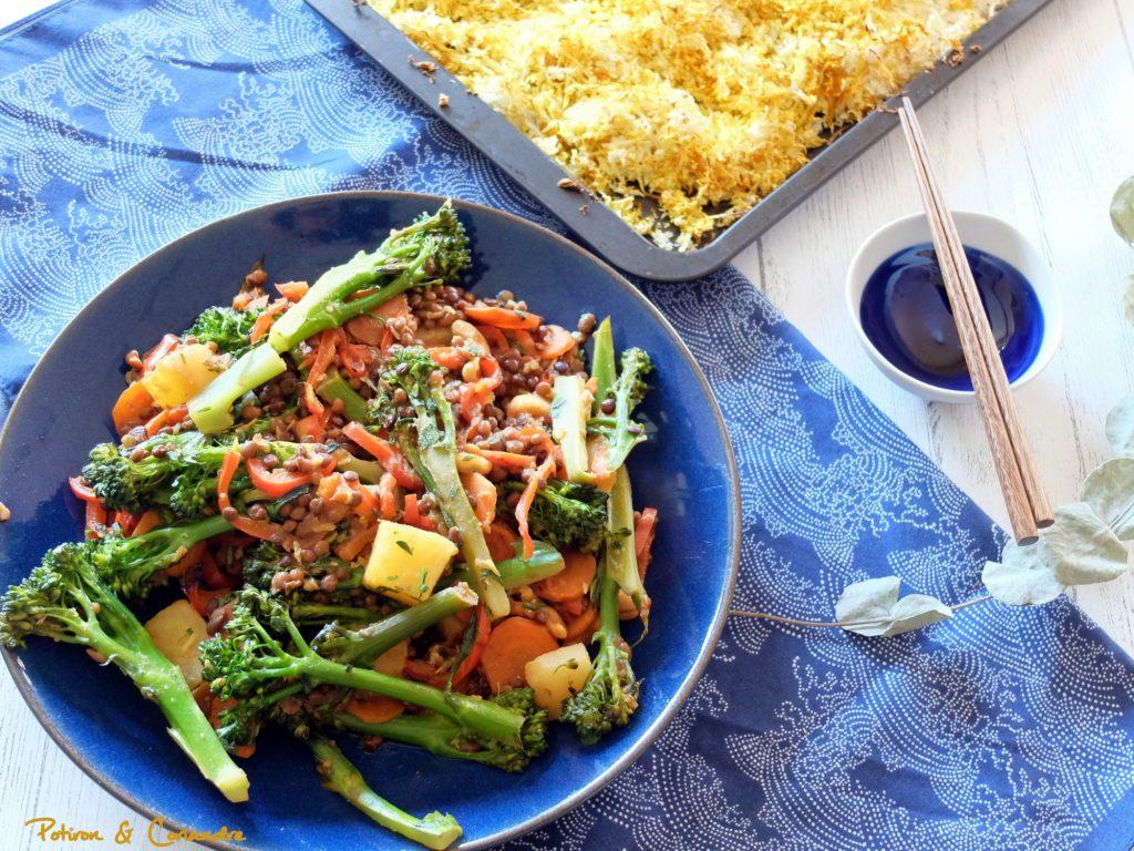 Brocolis à l'aigre douce et riz de chou fleur [vegan]