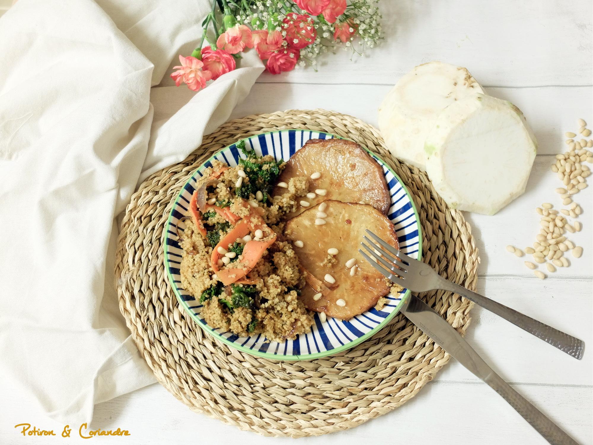 Steak de céleri rave et couscous au kale [vegan]