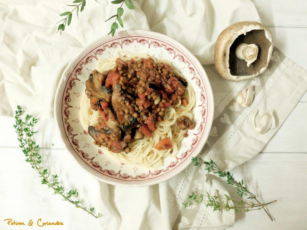 Spaghettis à la sauce Bolognaise végétale