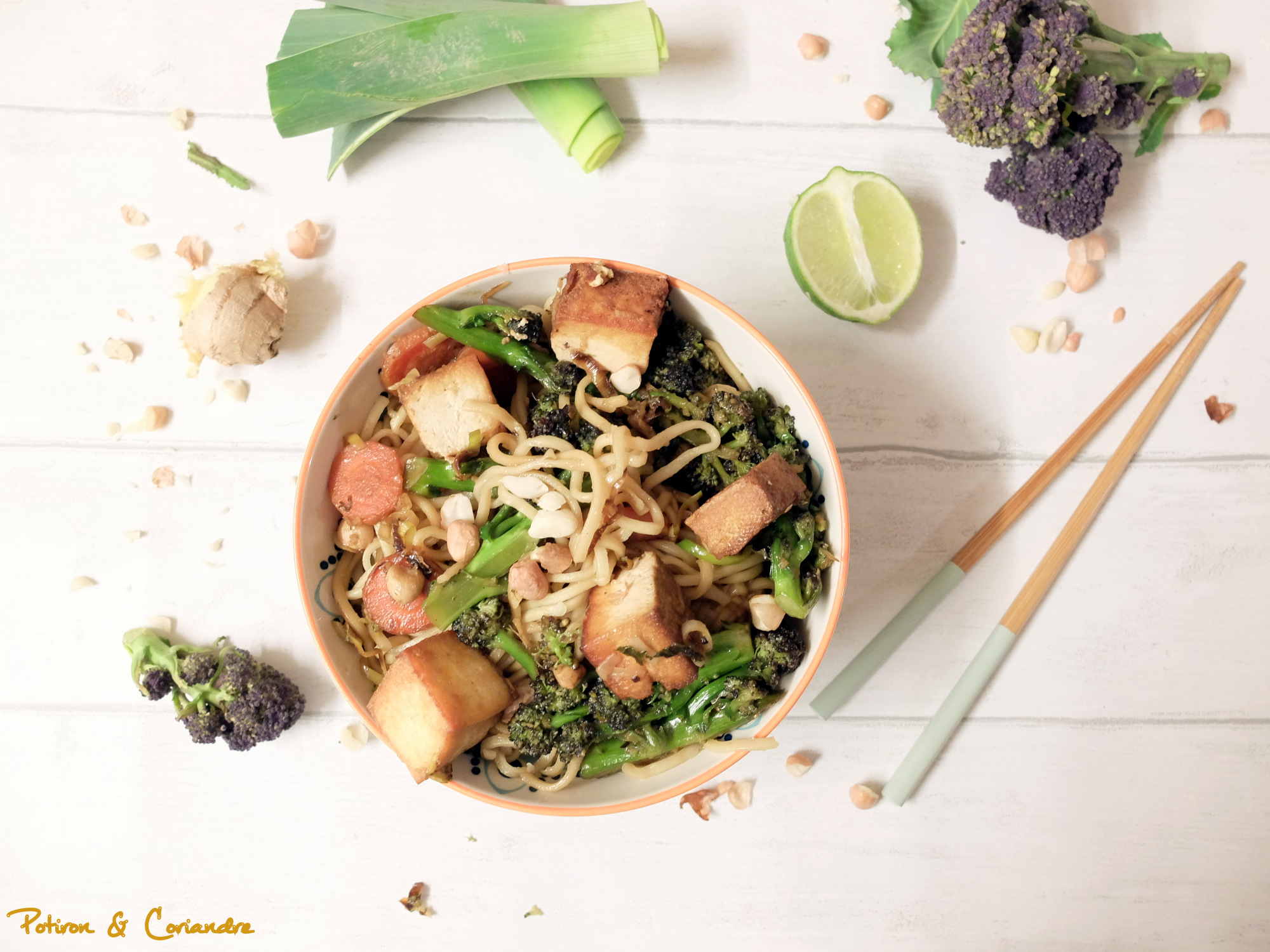Nouilles sautées aux brocolis et tofu