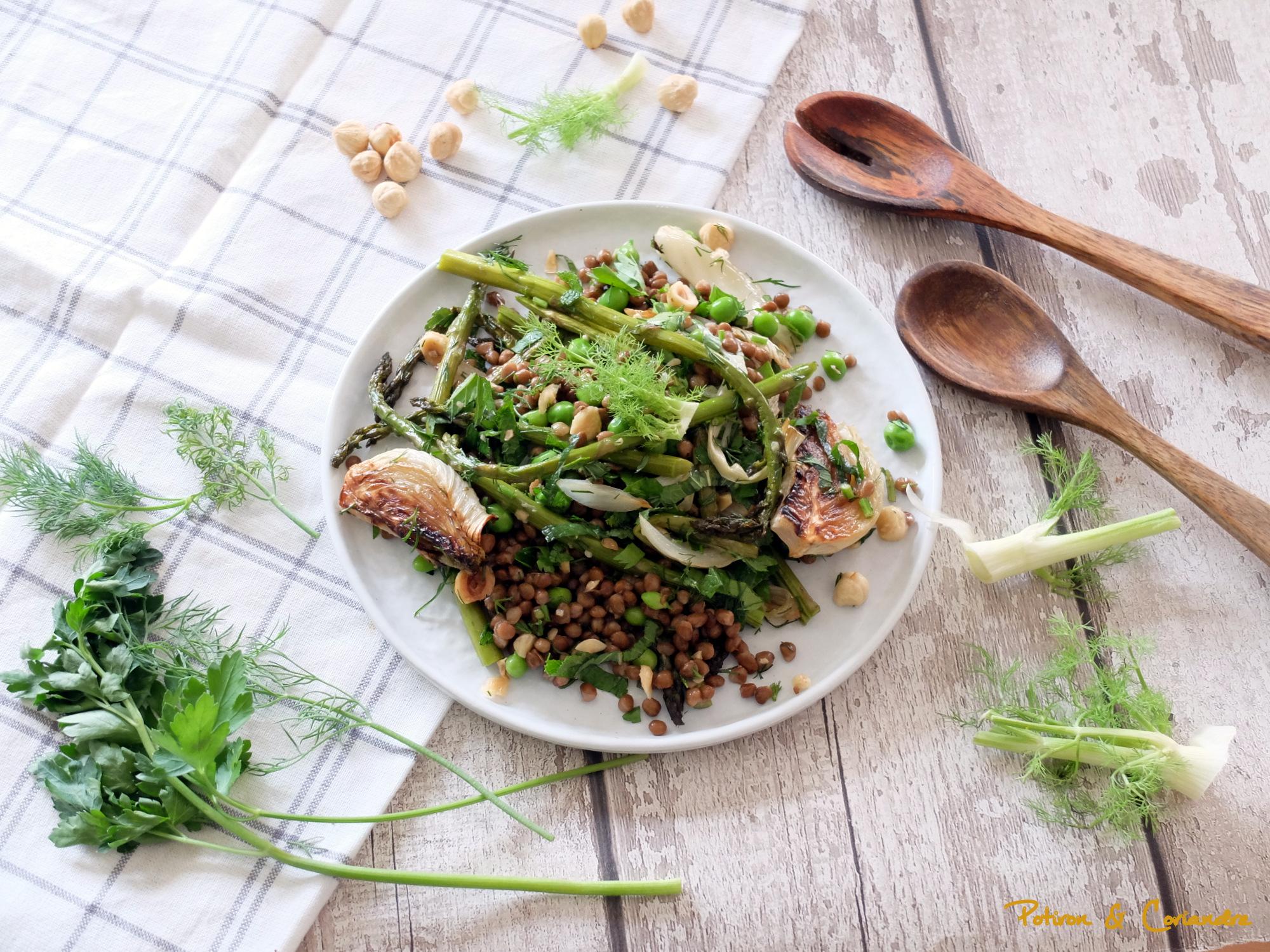 Salade fenouil rôti, asperges, petits pois et lentilles
