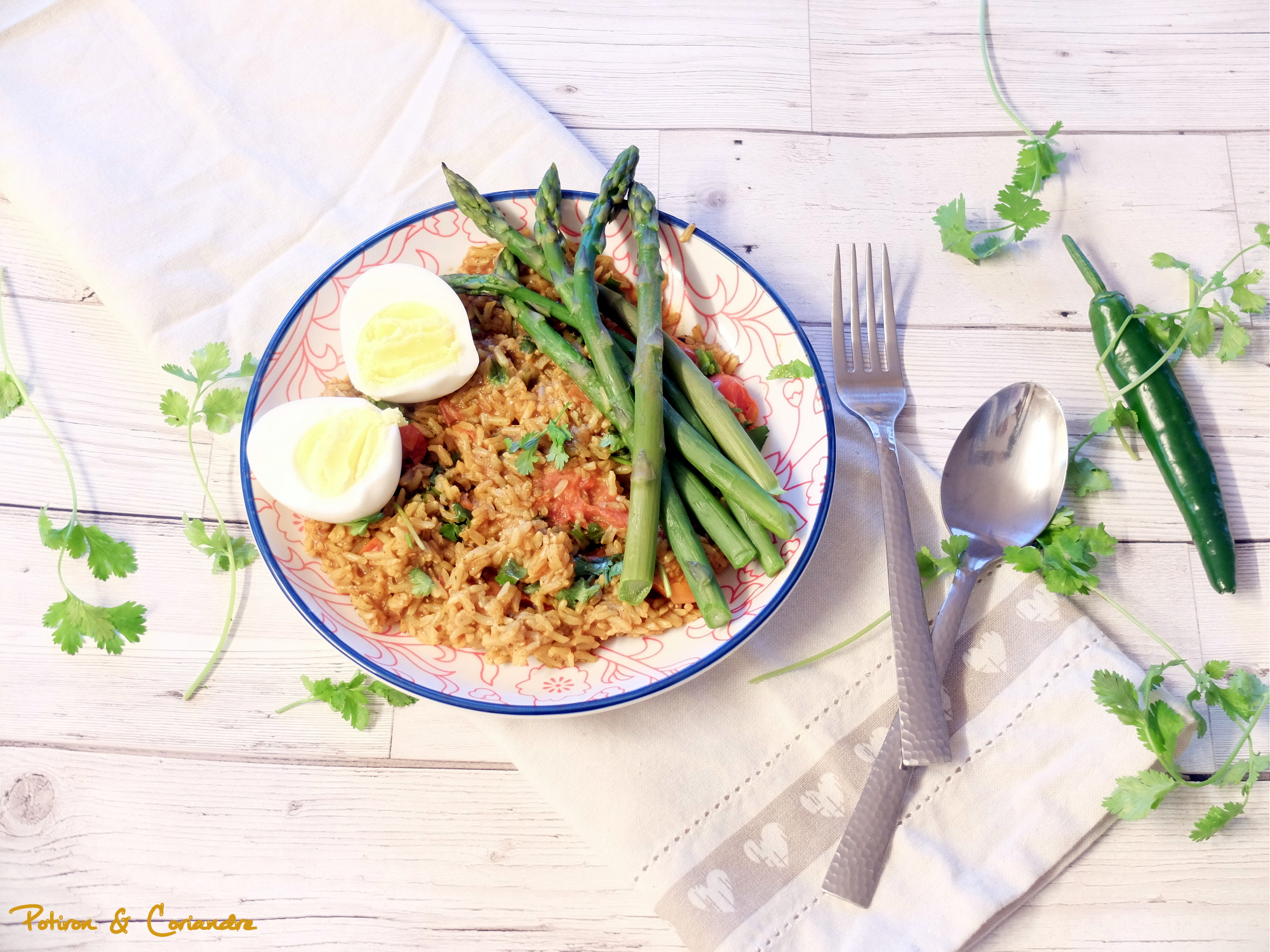 Riz sauté au curry et asperges