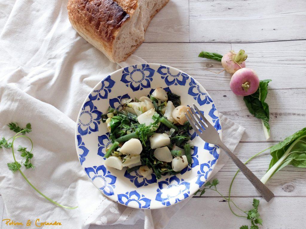 Salade navets, haricots verts et blettes
