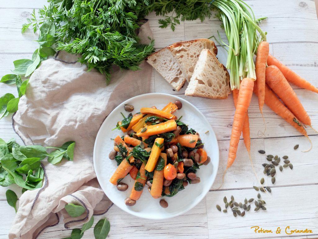 Salade tiède aux carottes, fèves sèches et épinards