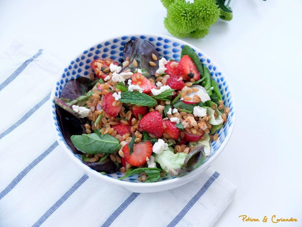 Salade de petit épeautre aux fraises